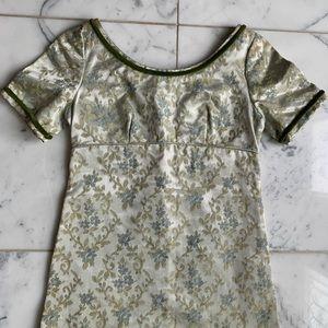 Vintage 1960s Emma Domb Brocade Empire Waist Dress